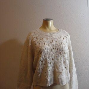 Charlotte Tarantola Elbow Patch Crop Sweater M